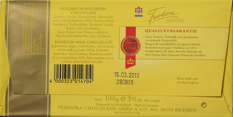 Feodora Vollmilch-Hochfein-Chocolade - Rückseite