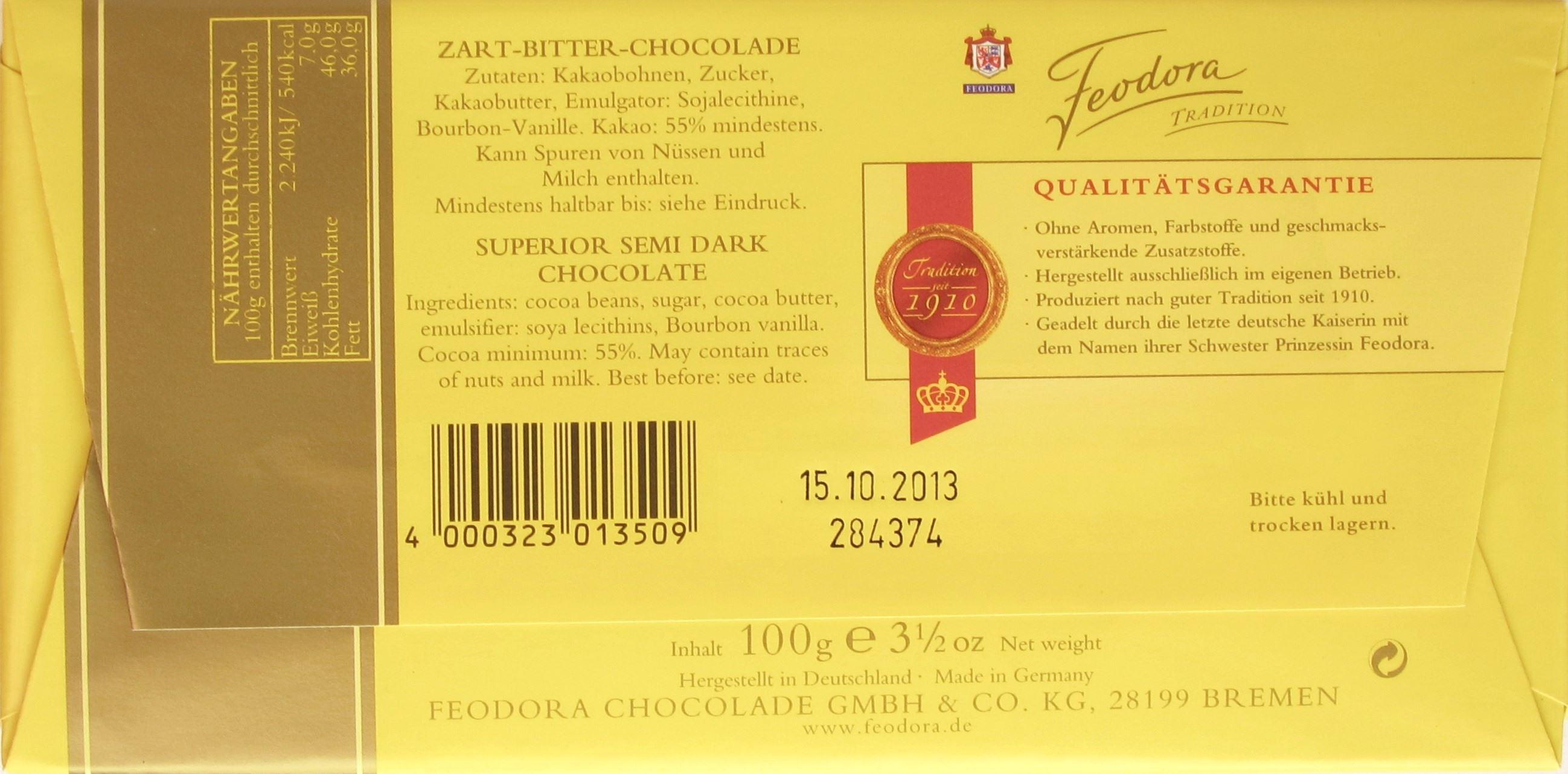 Feodora Zart-Bitter-Chocolade, 55% - Inhaltsangaben