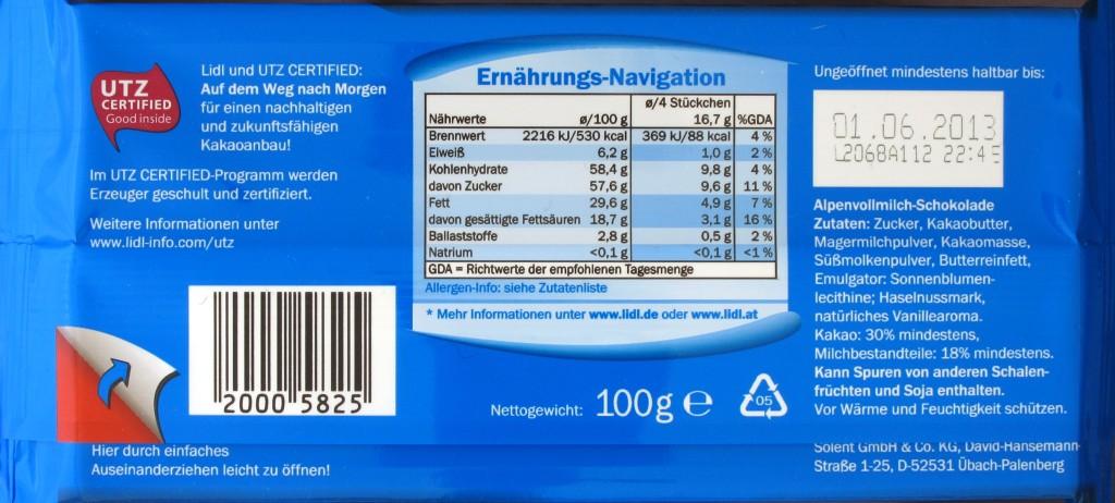 Packungsrückseite Lidl-Milchschokolade