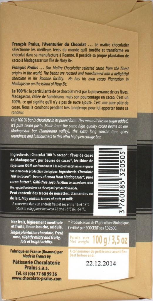 Rückseite: Francois Pralus Le 100%