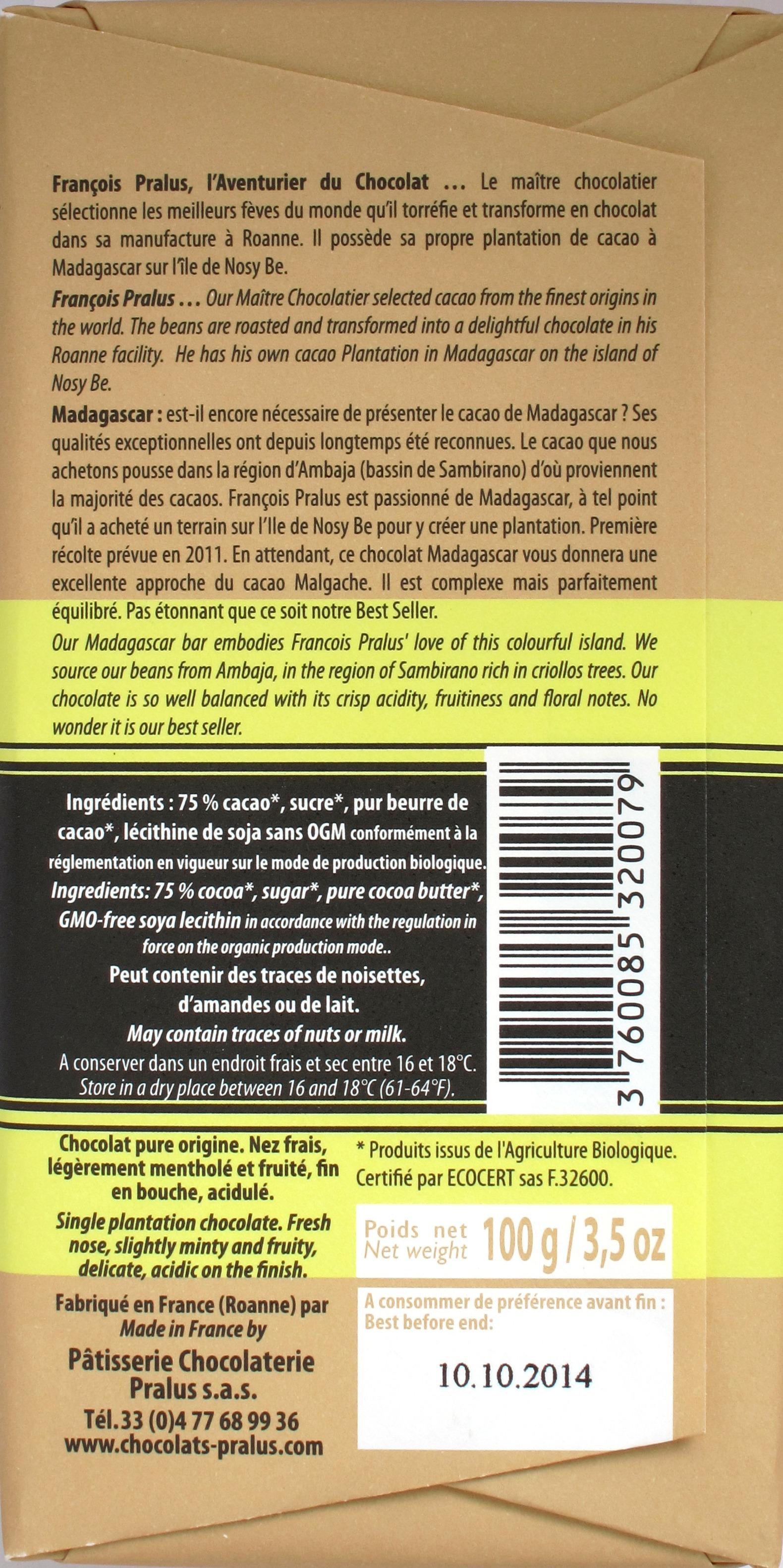 Pralus-Schokolade Madagascar 75%, Rückseite