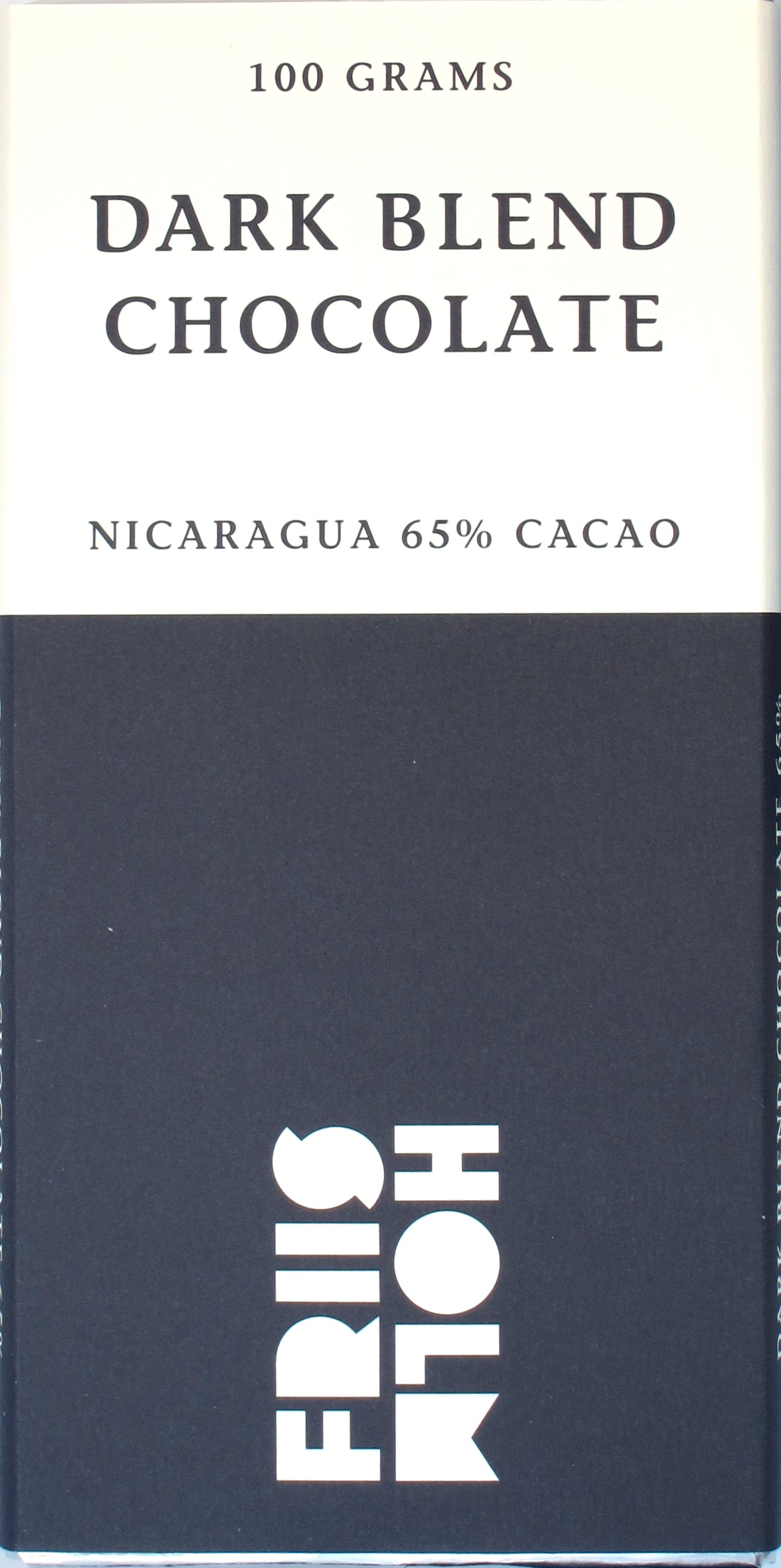 Umschlag der dänischen Bitterschokolade Friis-Holm Dark Blend Nicaragua 65%