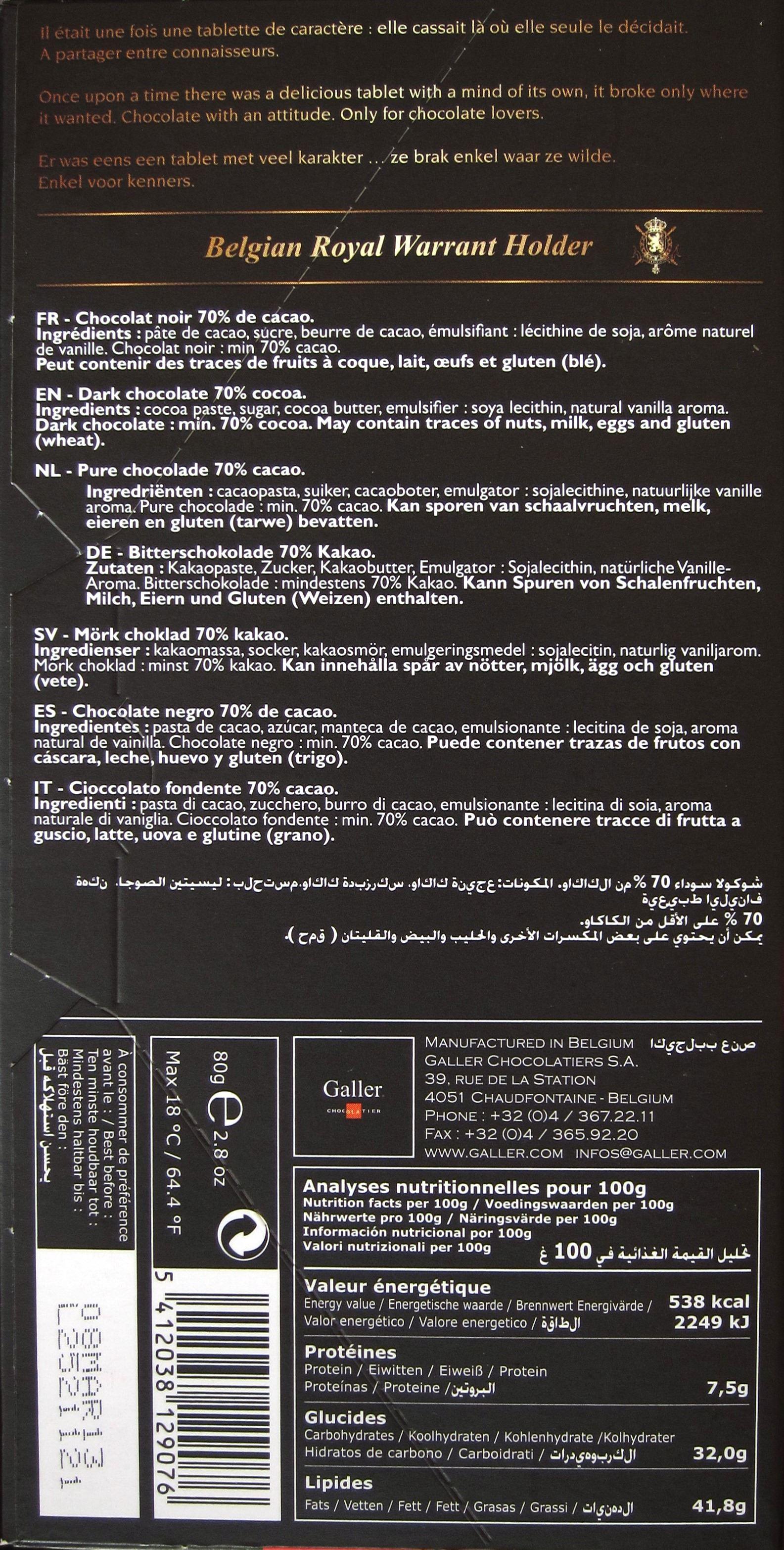Galler Dunkle Schokolade - Inhalt