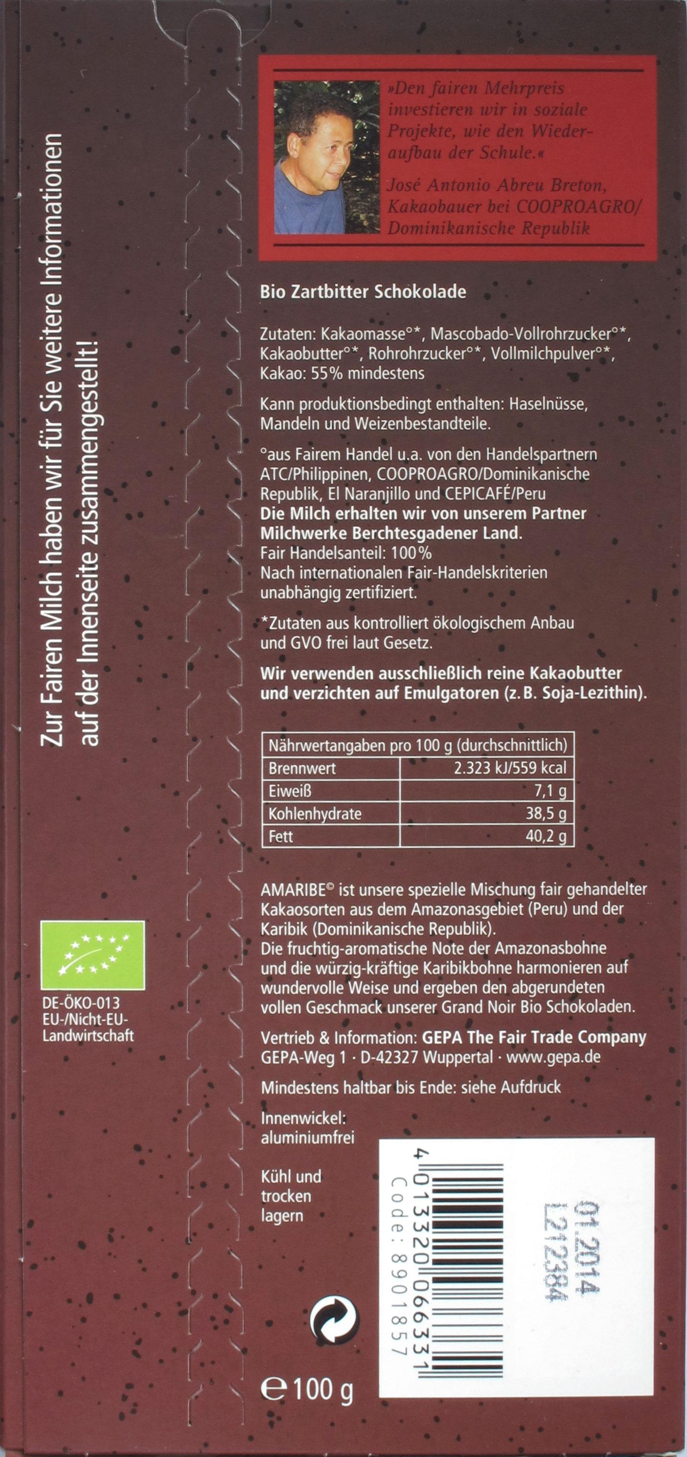 "GEPA Schokolade ""Grand Noir Feinherb"", Rückseite"