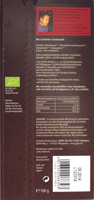 Tafelrückseite GEPA 70%-Zartbitterschokolade
