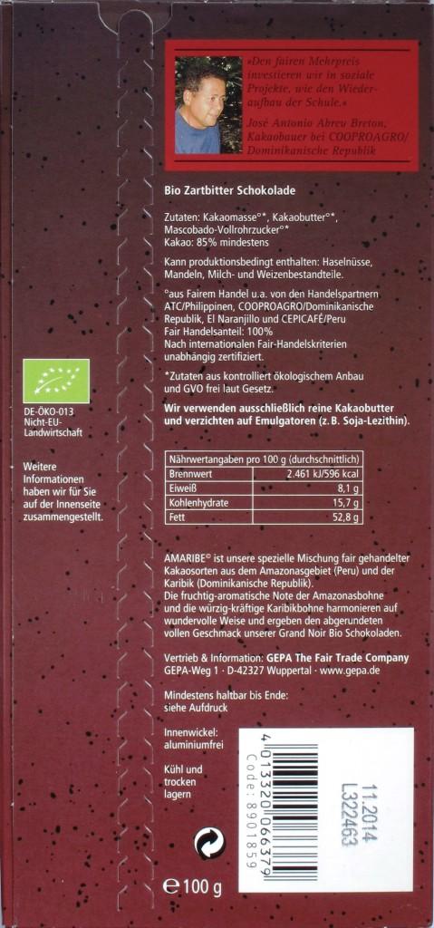 Rückseite: GEPA Grand Noir 85%