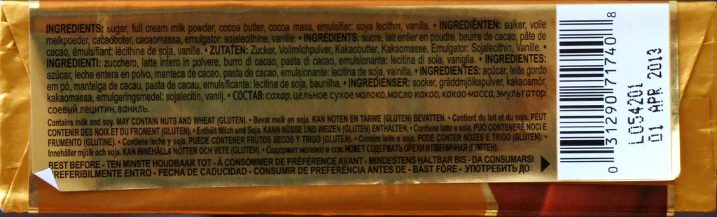 Godiva Milk Chocolate - Packungsrückseite