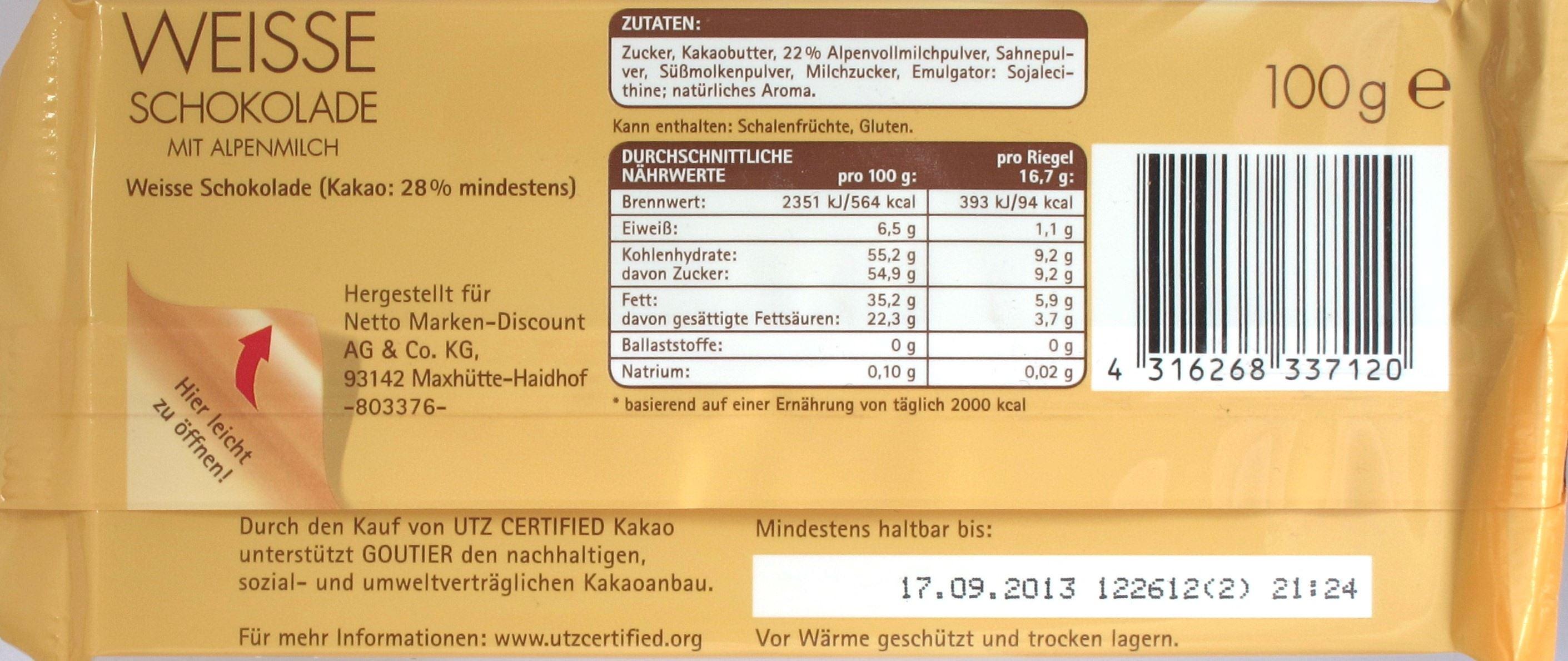 Goutier/Netto Weiße Schokolade: Rückseite