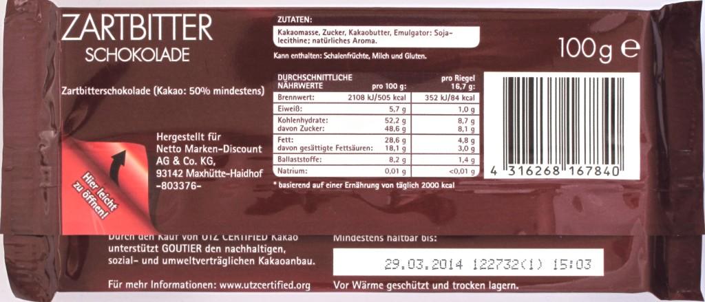 Goutier-Zartbitterschokolade, Rückseite