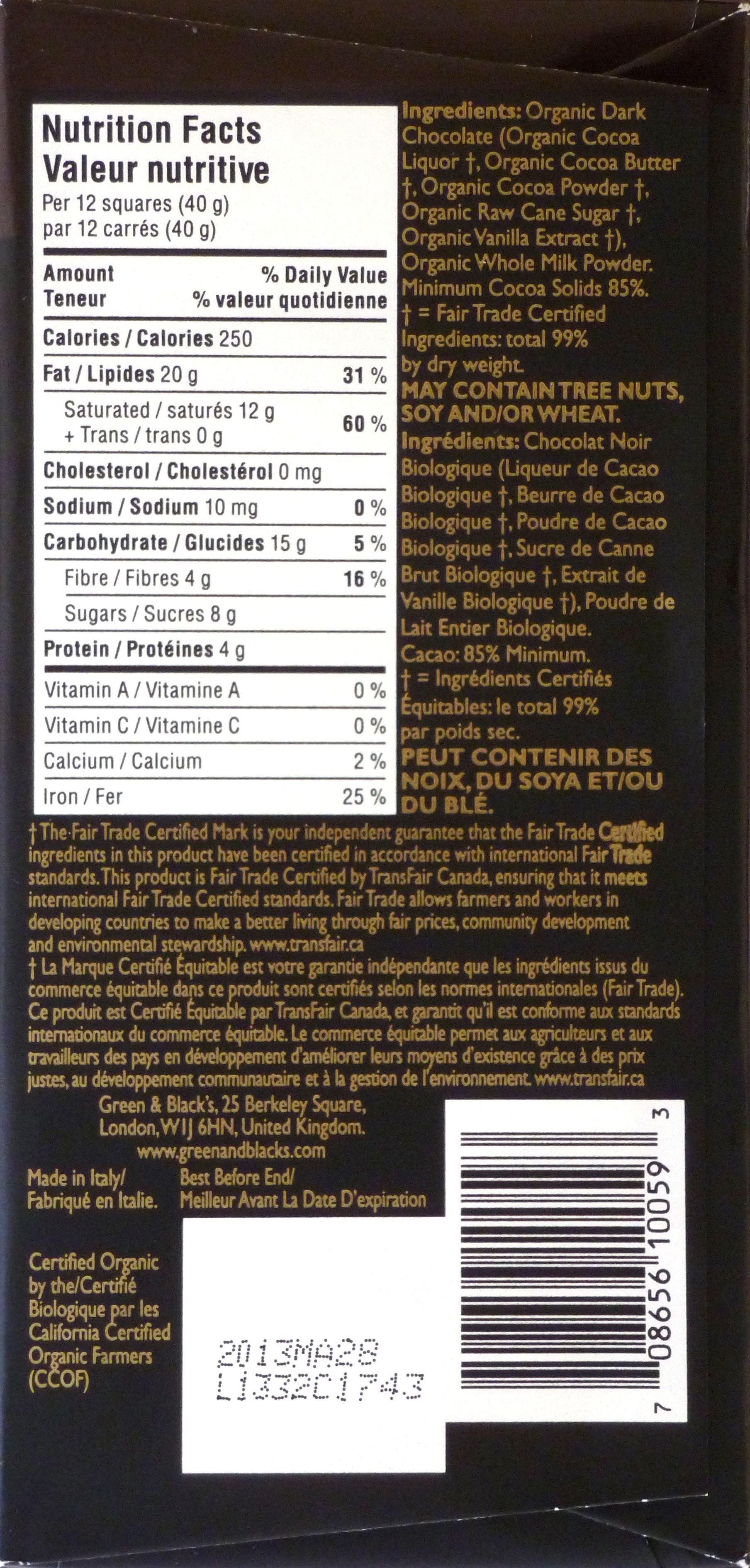 Green & Blacks englische Bio-Schokolade 85% (Rückseite)