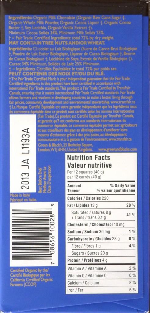 Green & Black's Bio-Milchschokolade (hinten)