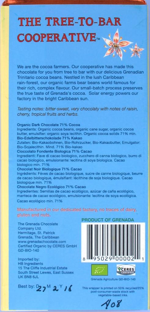 The Grenada Chocolate Company - 71% Dark Organic - Rückseite
