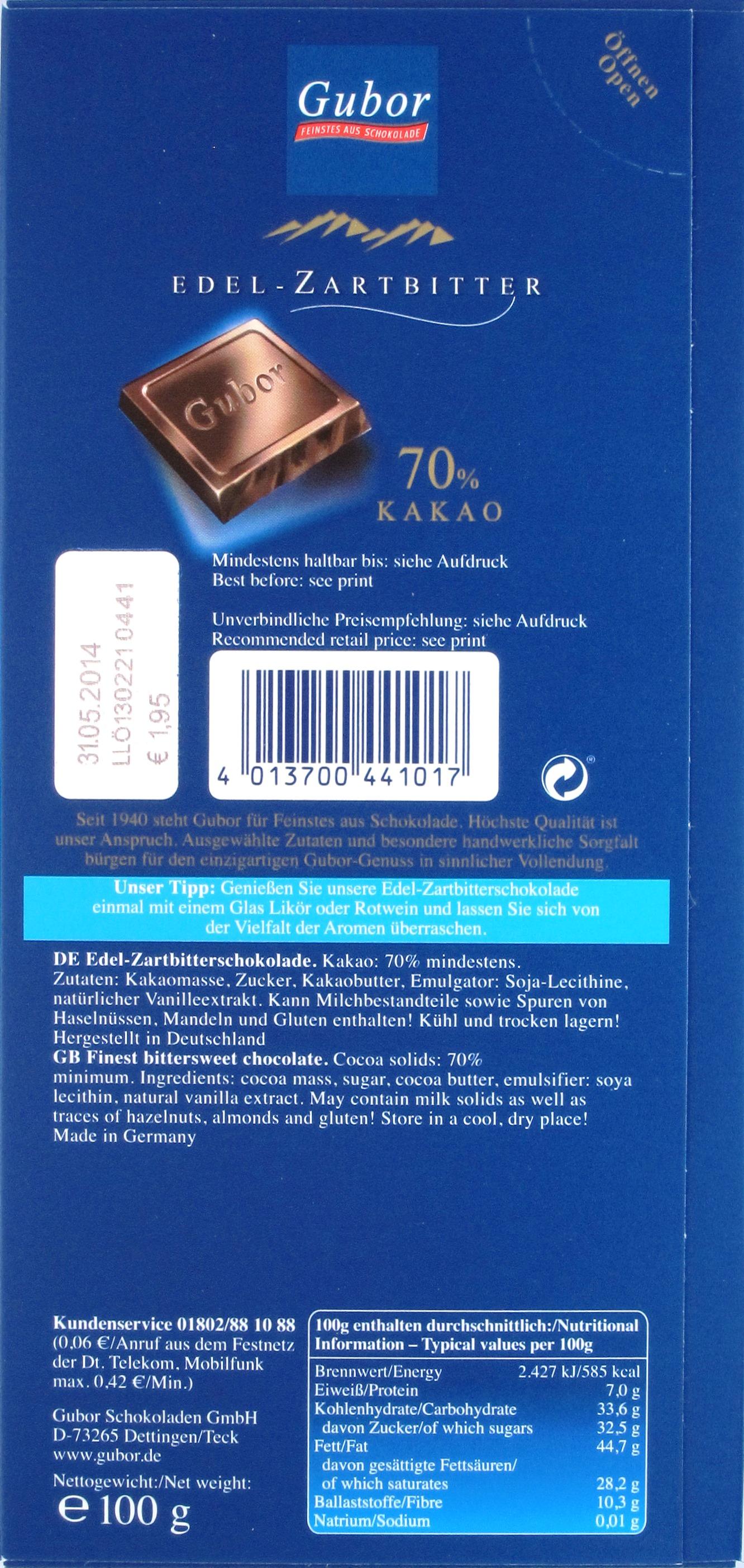 Gubor Zartbitterschokolade, Rückseite