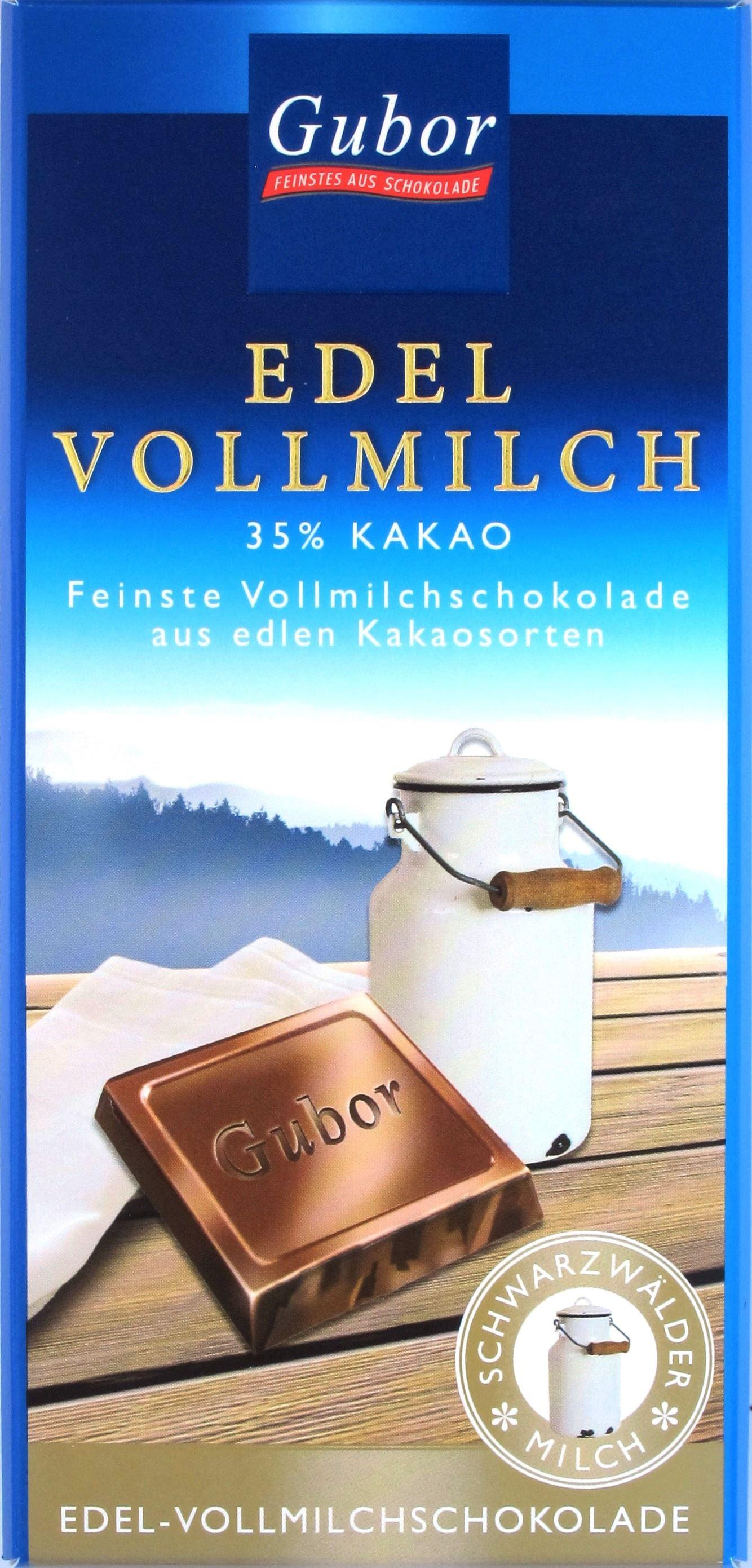 Vorderseite, Gubor, 35% Vollmilchschokolade