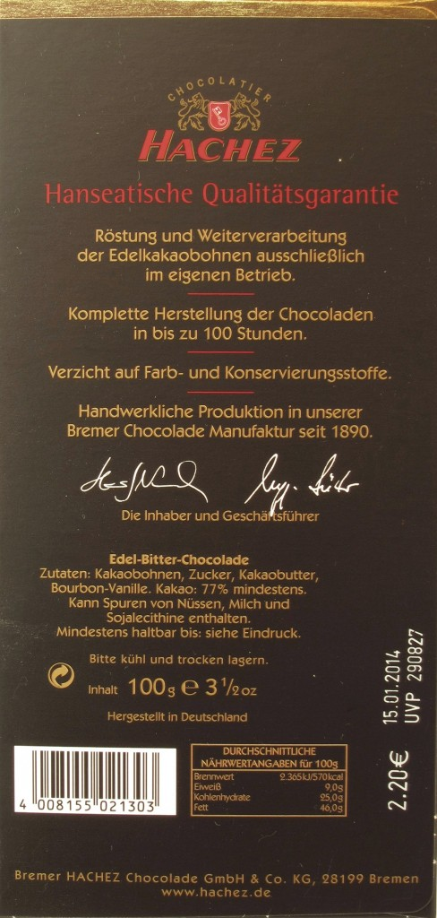 Hachez-Chocolade, 77%, Ecuador, Arriba-Kakao - Inhaltsangaben