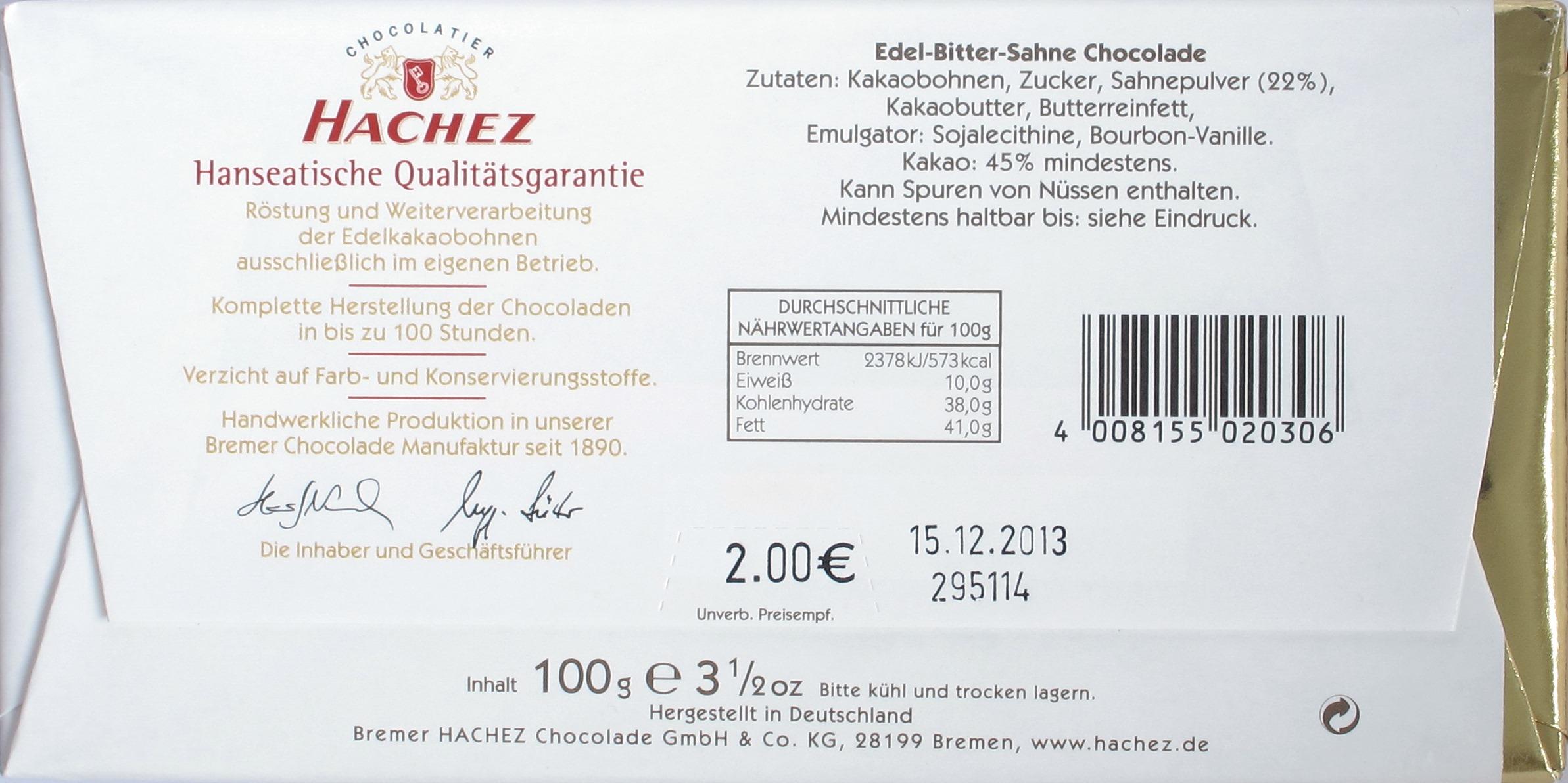 Hachez-Milchschokolade Edel Bitter-Sahne, Zutatenliste