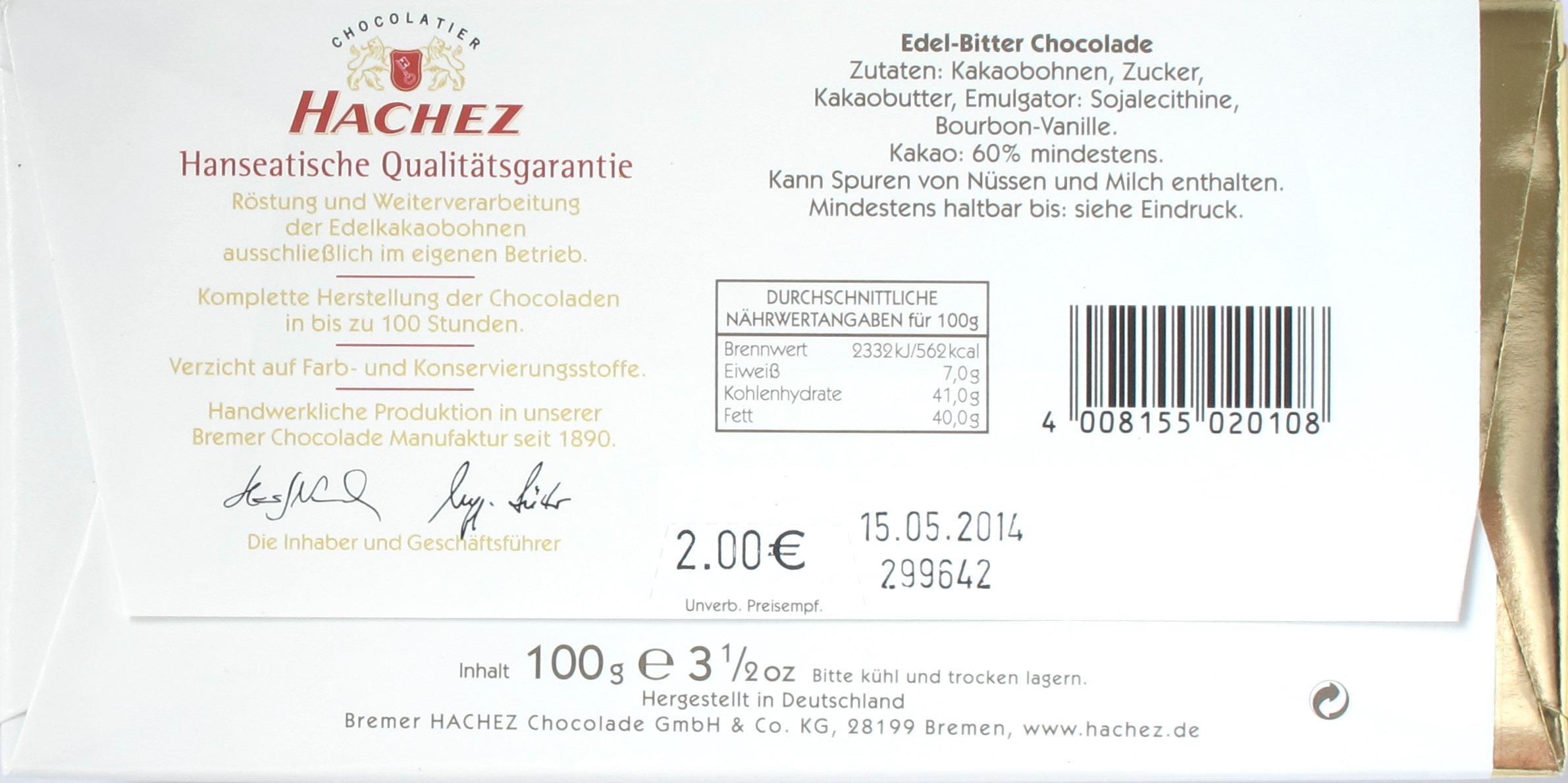 Hachez-60%-Bitterschokolade, Rückseite