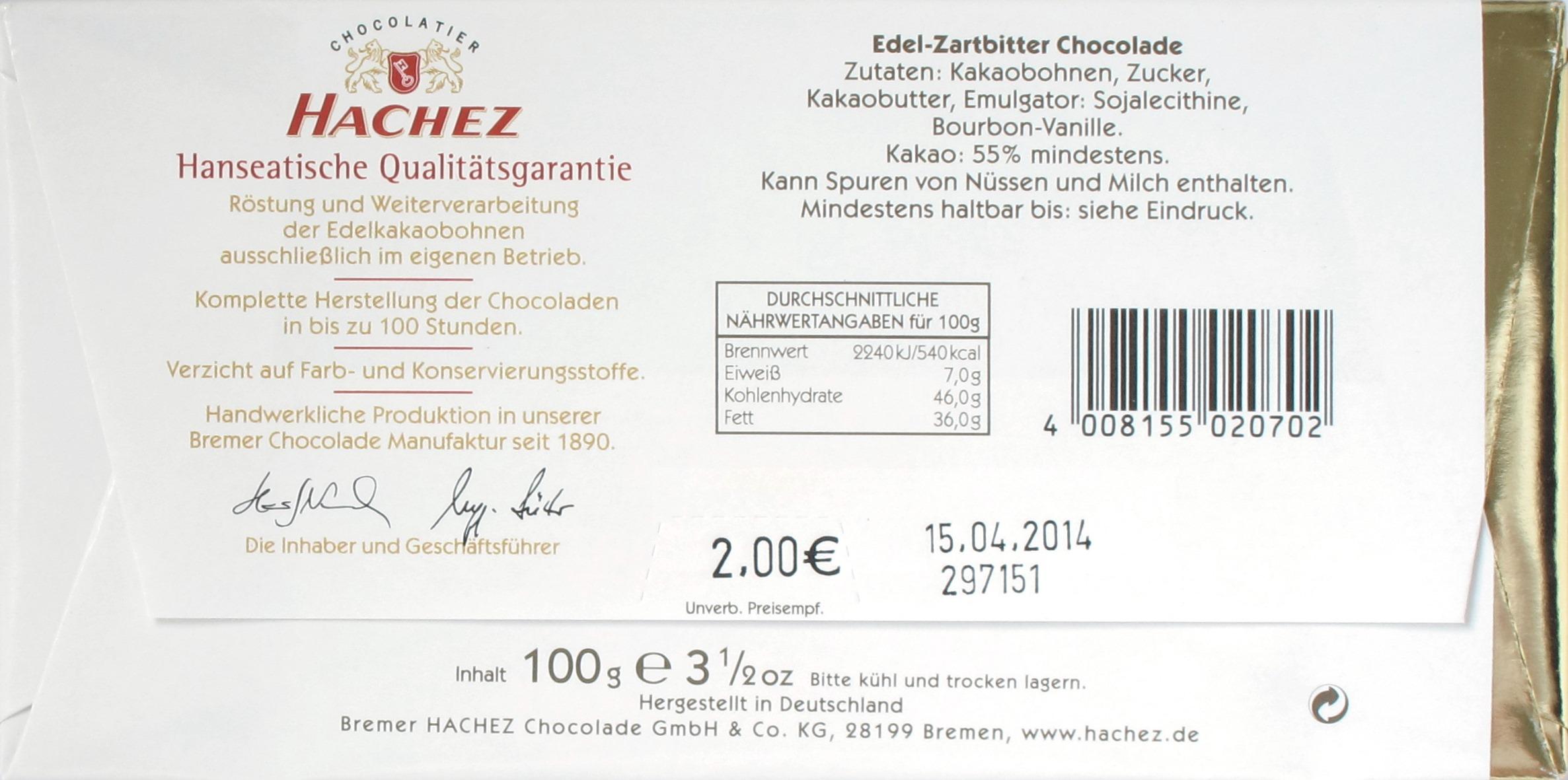 Hachez 55% Edel-Zartbitter-Schokolade, Rückseite