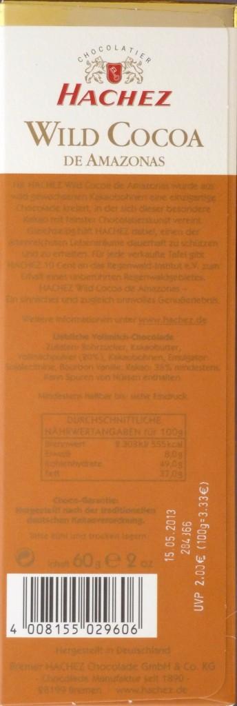 """Hachez """"Wild Cocoa"""" - Vollmilchschokolade 38% - Inhaltsangaben"""