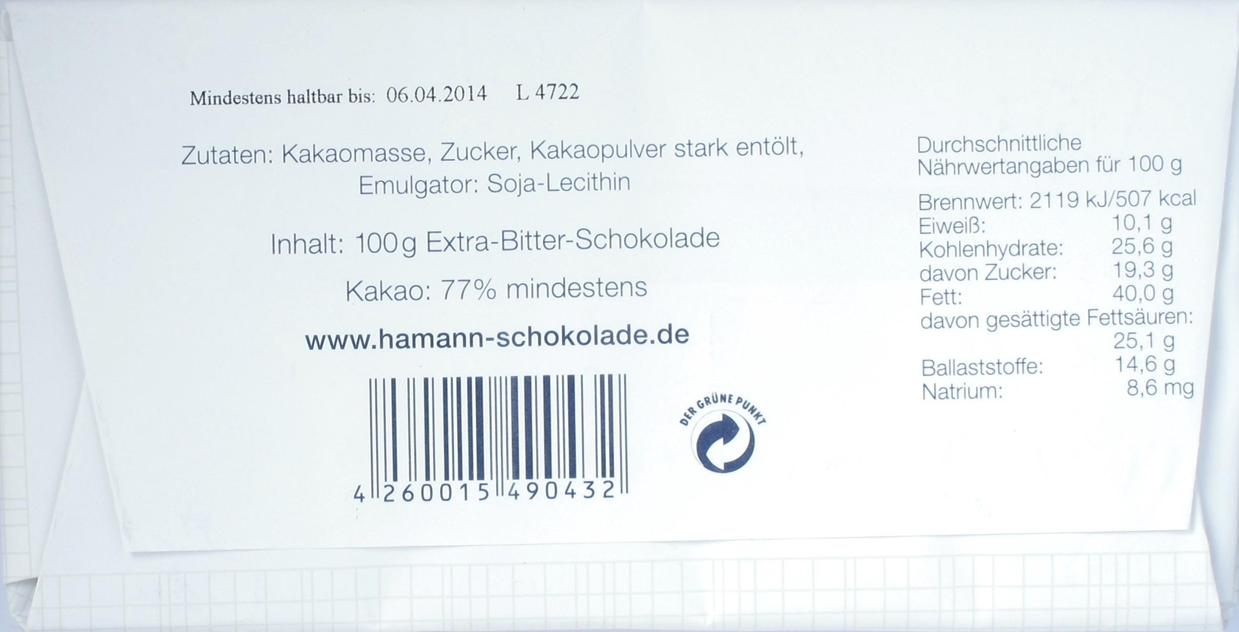 Erich Hamann Schokolade 77%, Rückseite