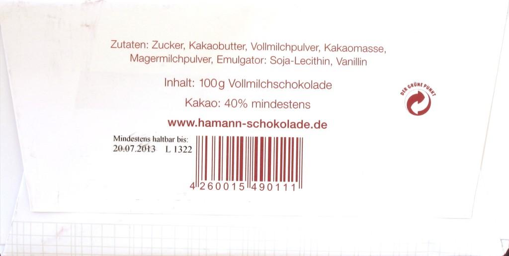 Packungsrückseite, Erich Hamann, 40%-Schokolade