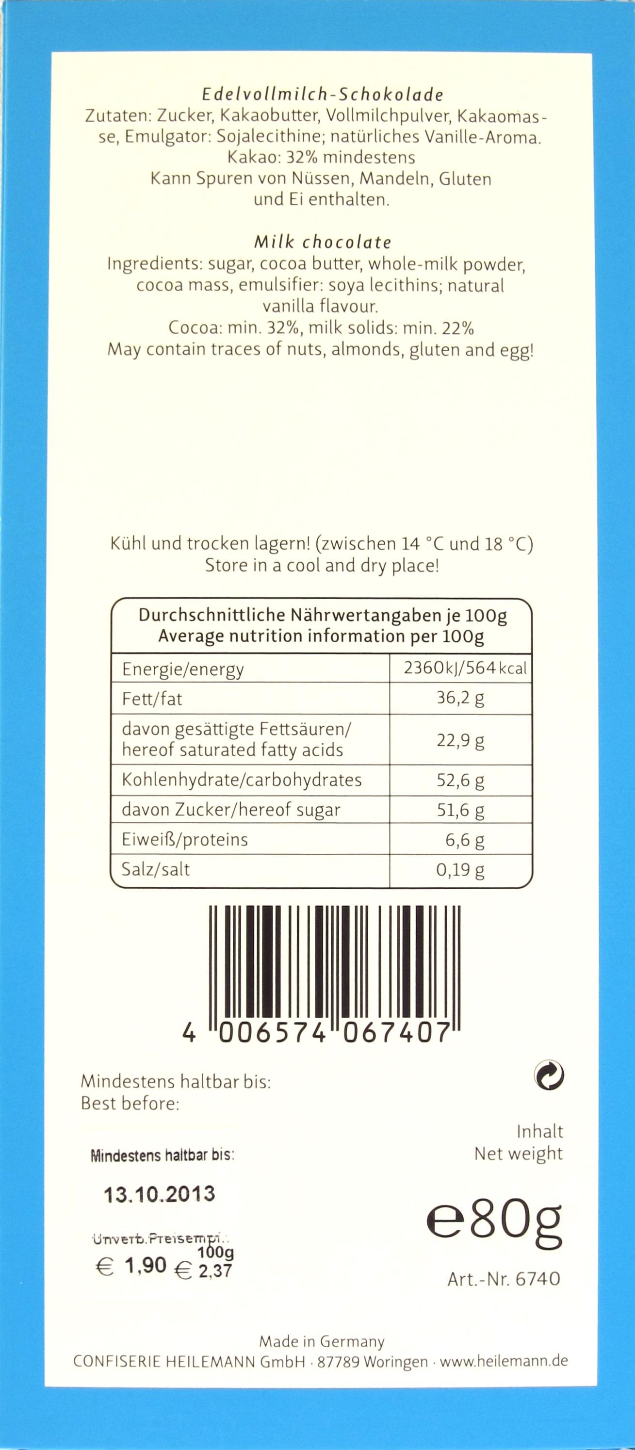 Rückseite, Heilemann-Schokolade 32% Edelvollmilch