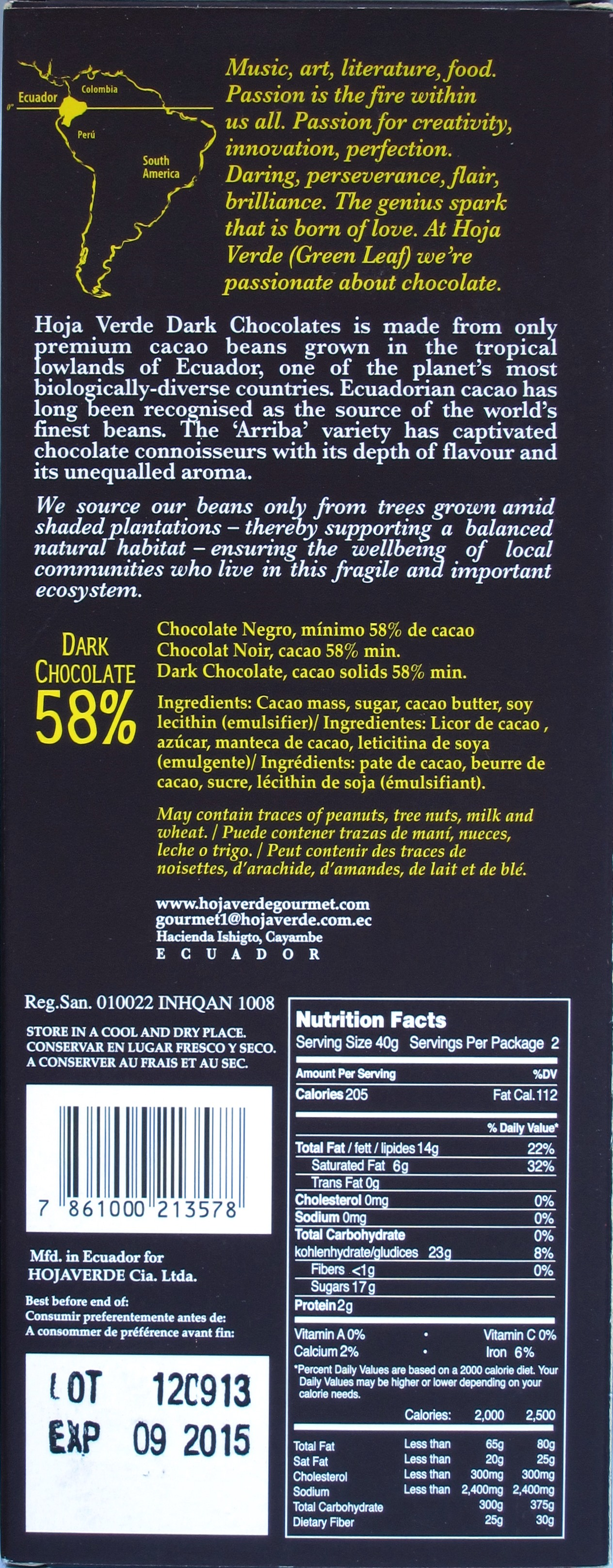 Hoja Verde 58%-Ecuador-Arriba-Schokolade, Rückseite