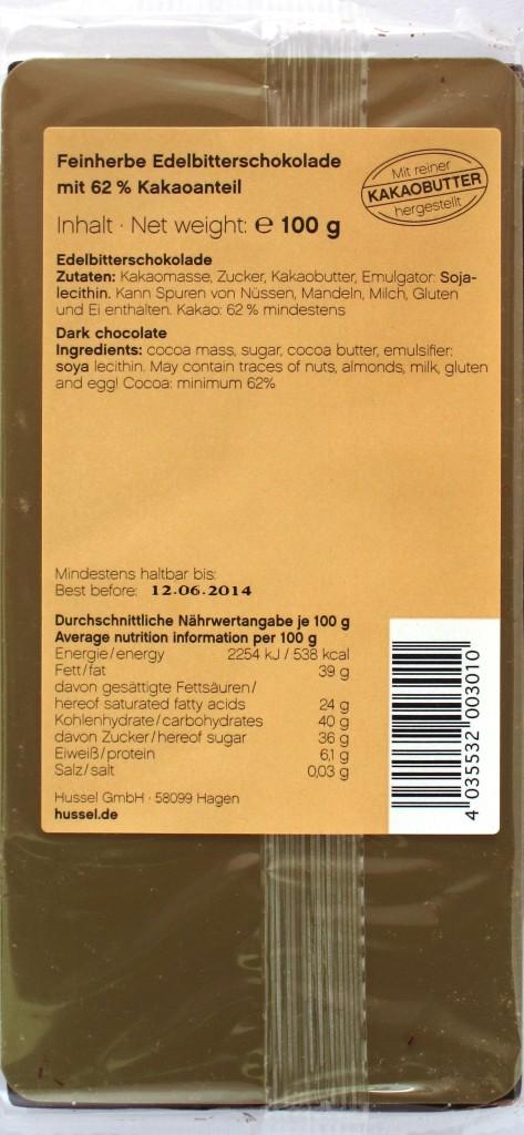 Hussel Edelbitterschokolade 62%, Rückseite