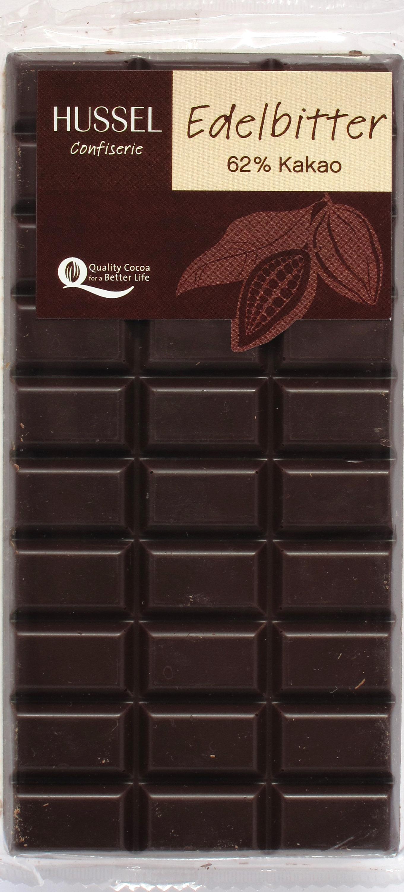 Hussel Edelbitterschokolade 62%, Vorderseite