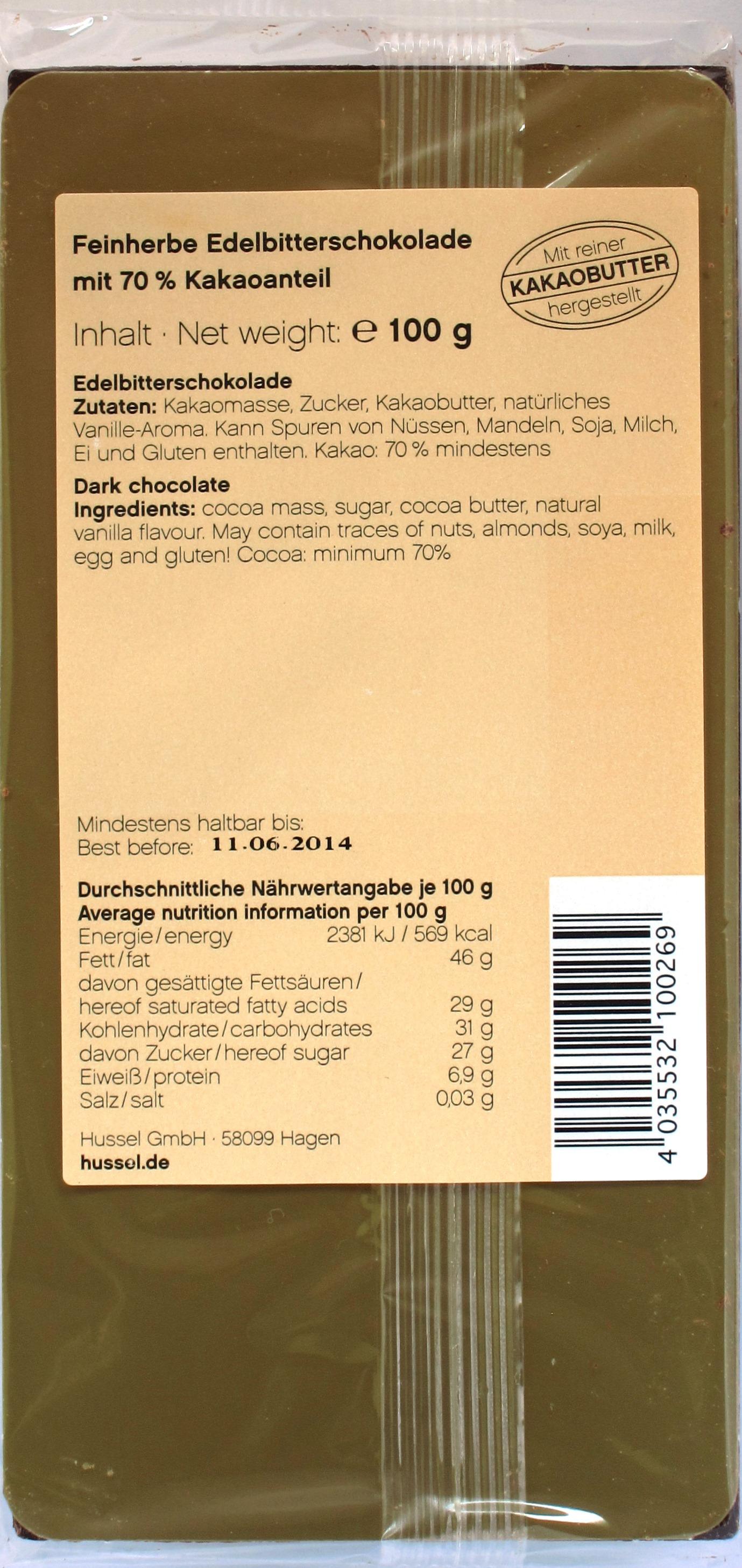 Hussel 70%-Schokolade, Rückseite