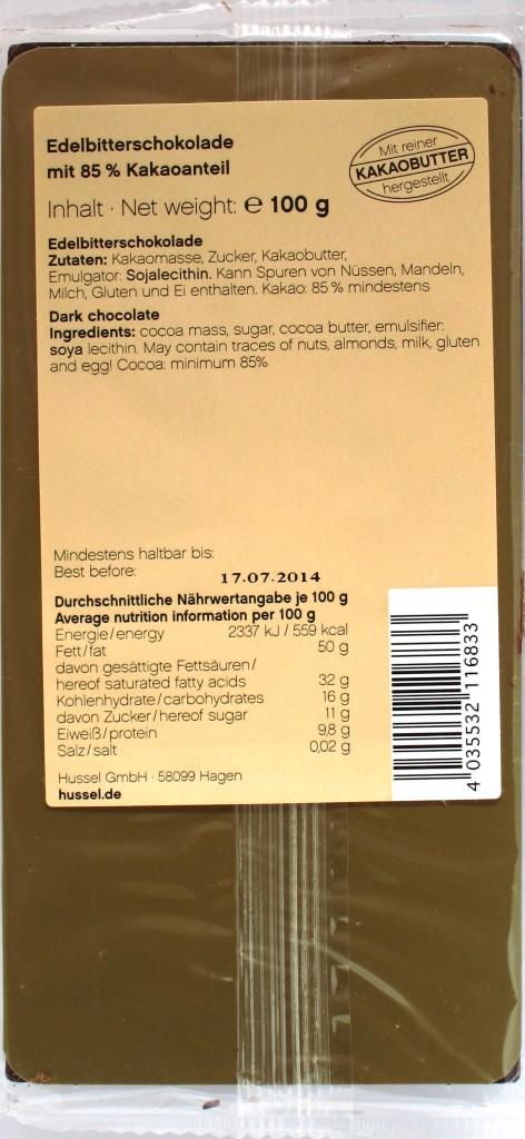 Hussel 85%-Schokolade, Rückseite
