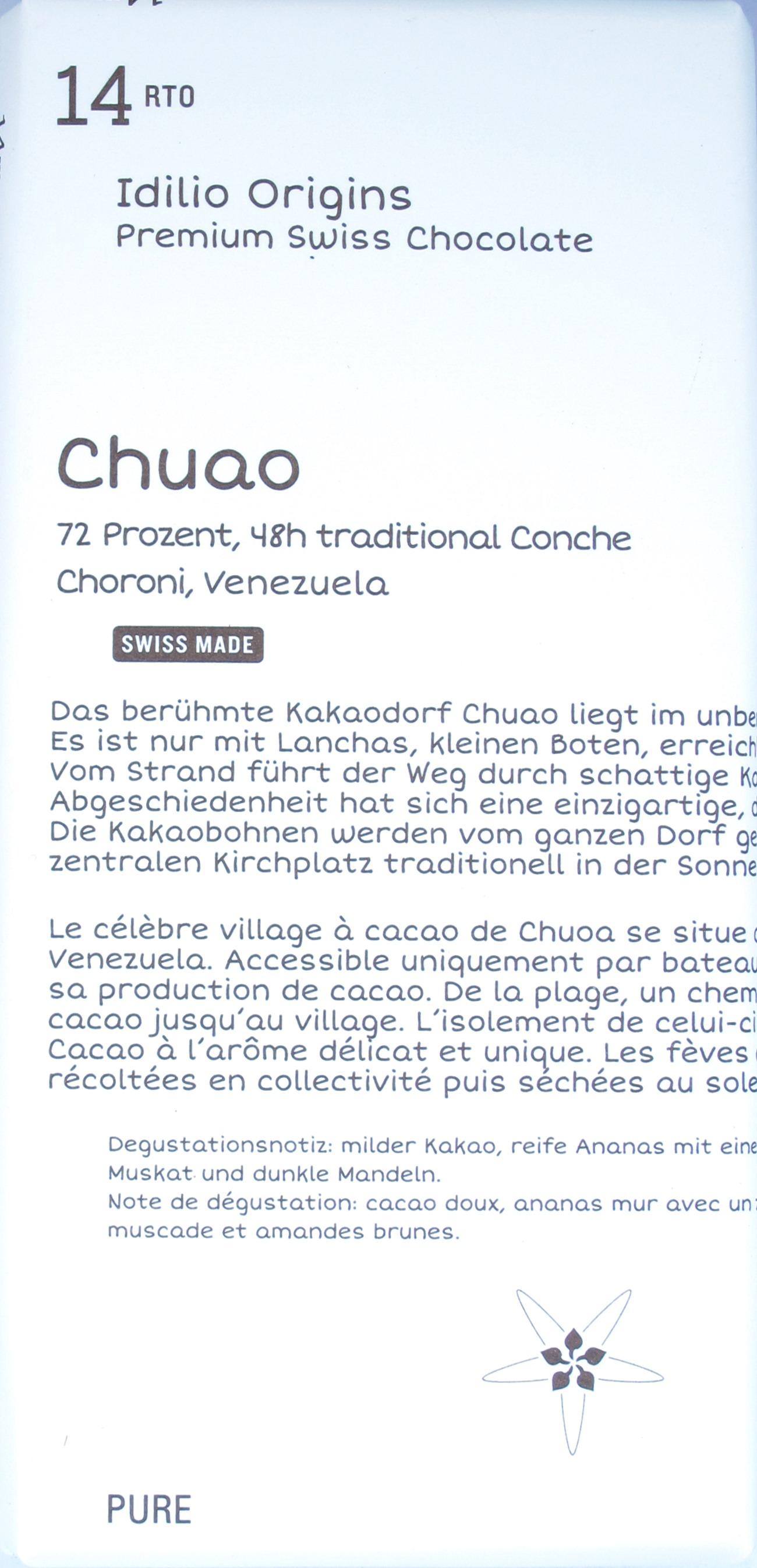 Idilio Dunkle Schokolade 14rto Chuao, 72%