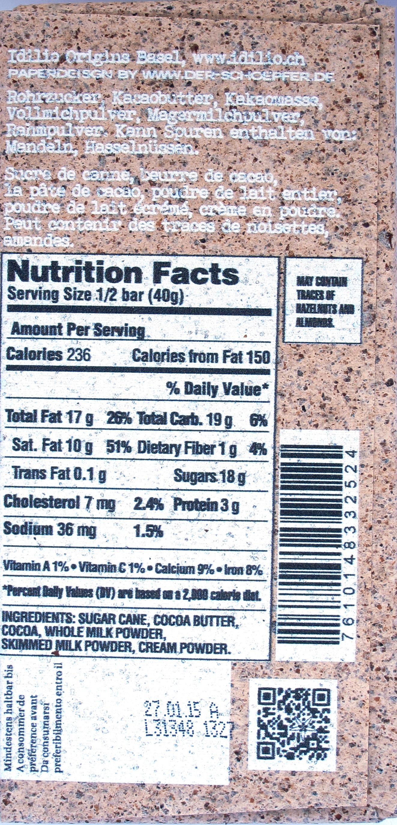 Idilio 15. Milchschokolade, 42%, Rückseite