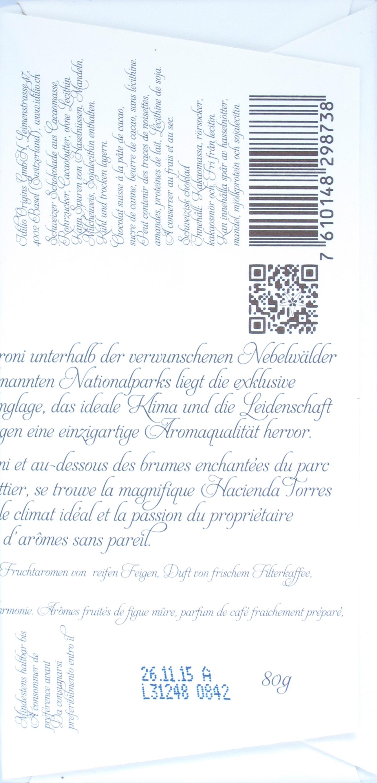 Bitterschokolade 'Finca Torres' von Idilio (Schweiz), Inhaltsangaben