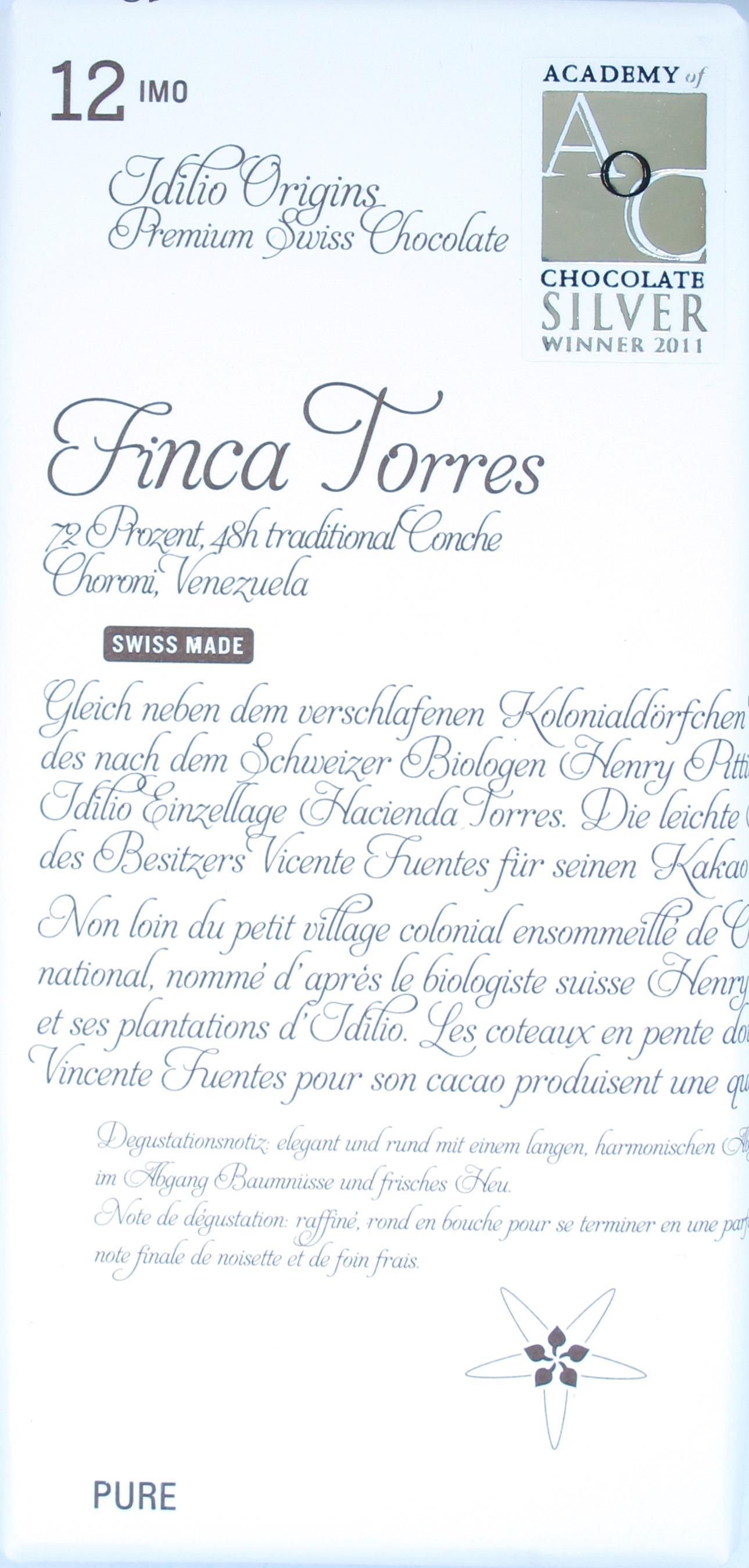 Bitterschokolade 'Finca Torres' von Idilio (Schweiz)