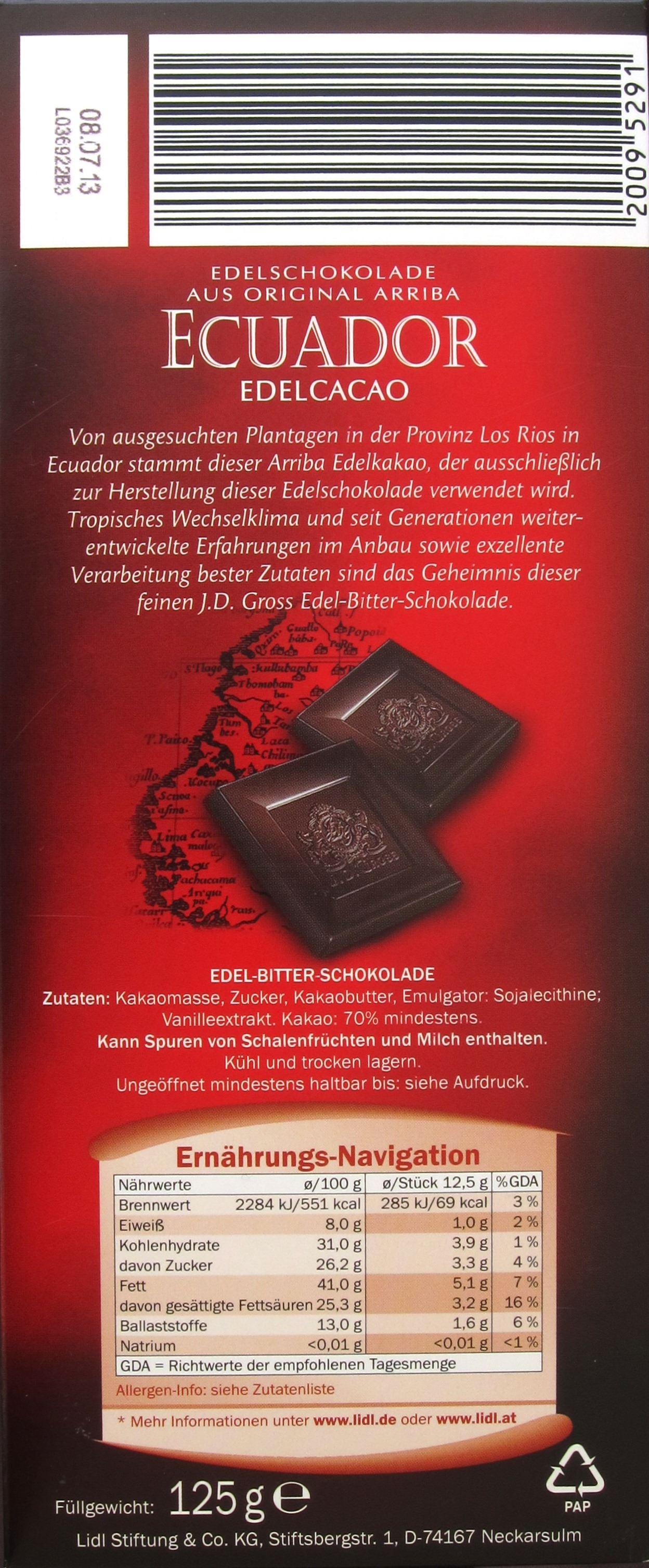 "Rausch/LIDL ""J. D. Gross"" Ecuador-70%-Schokolade - Packungsrückseite"