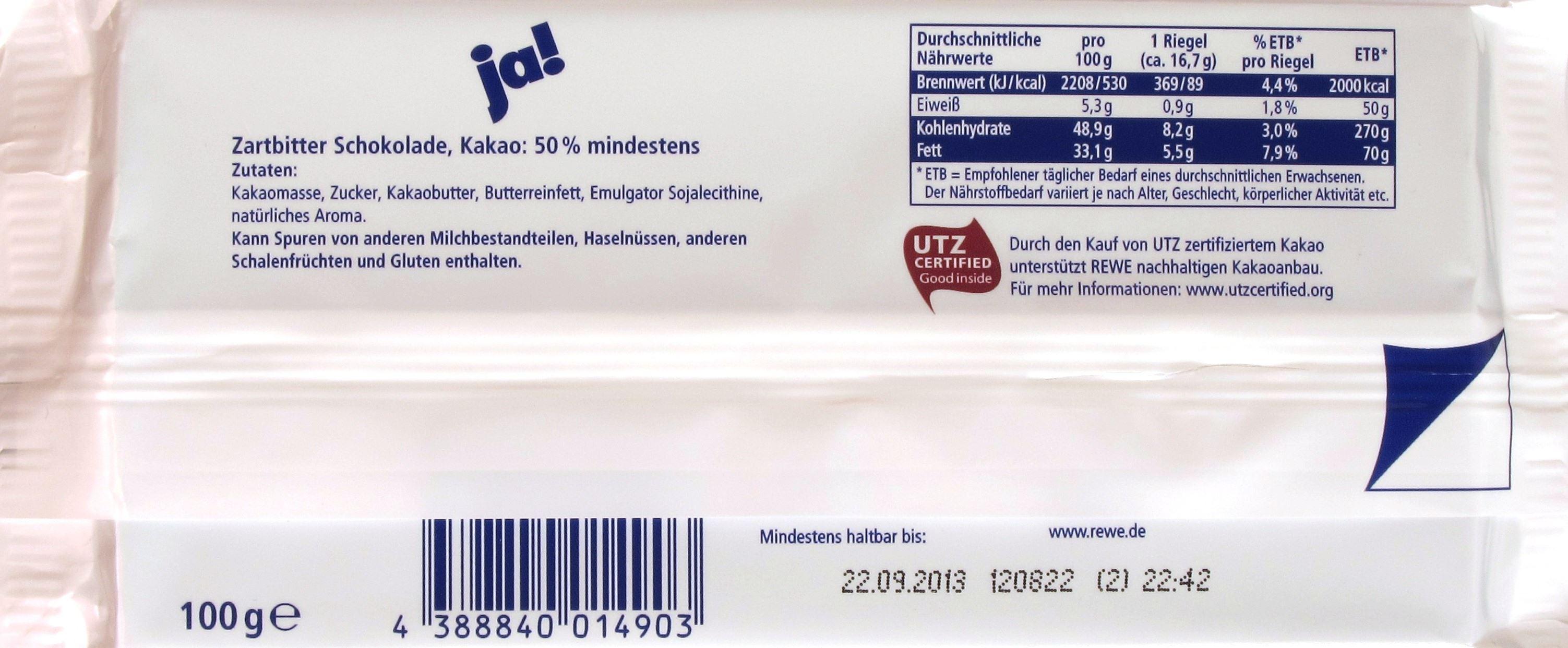 Ja! Zartbitter-Schokolade 50% - Inhaltsangaben