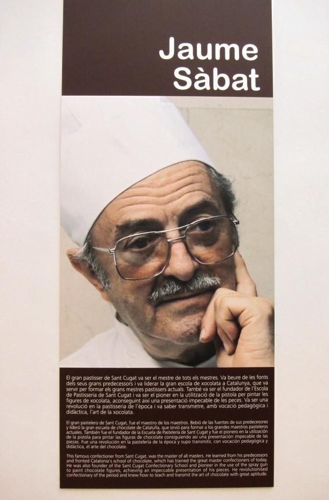 Schautafel zu Jaume Sabat im Museu de la Xocolata, Barcelona