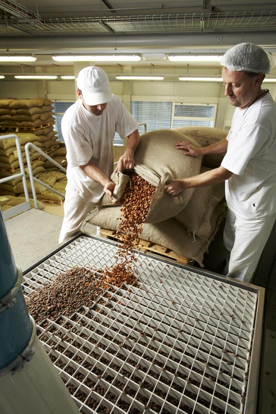 Arbeiter füllen Kakaosack