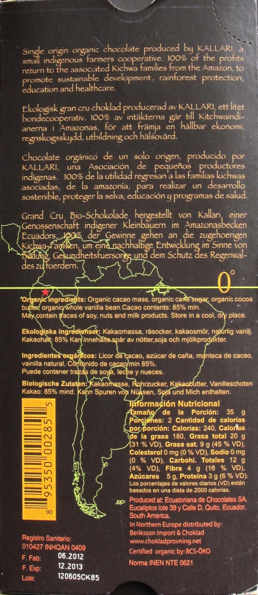 Kallari 85% Cacao, Dunkle Schokolade Ecuador, Rückseite