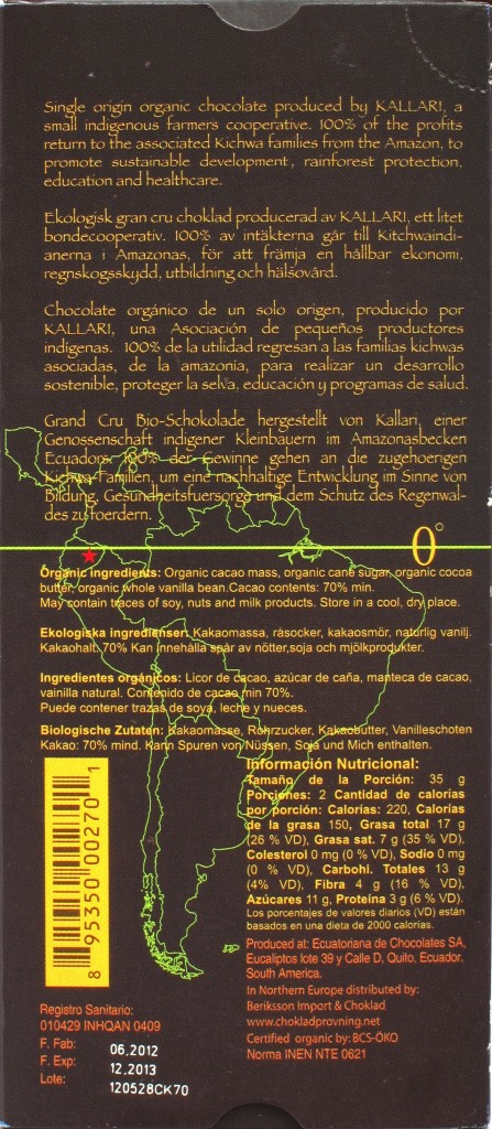 Kallari 70%-Schokolade, Rückseite