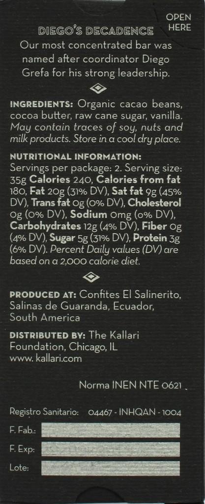 """Rückseite, Kallari-Schokolade Sacha """"Diego's Decadence"""" (85%)"""