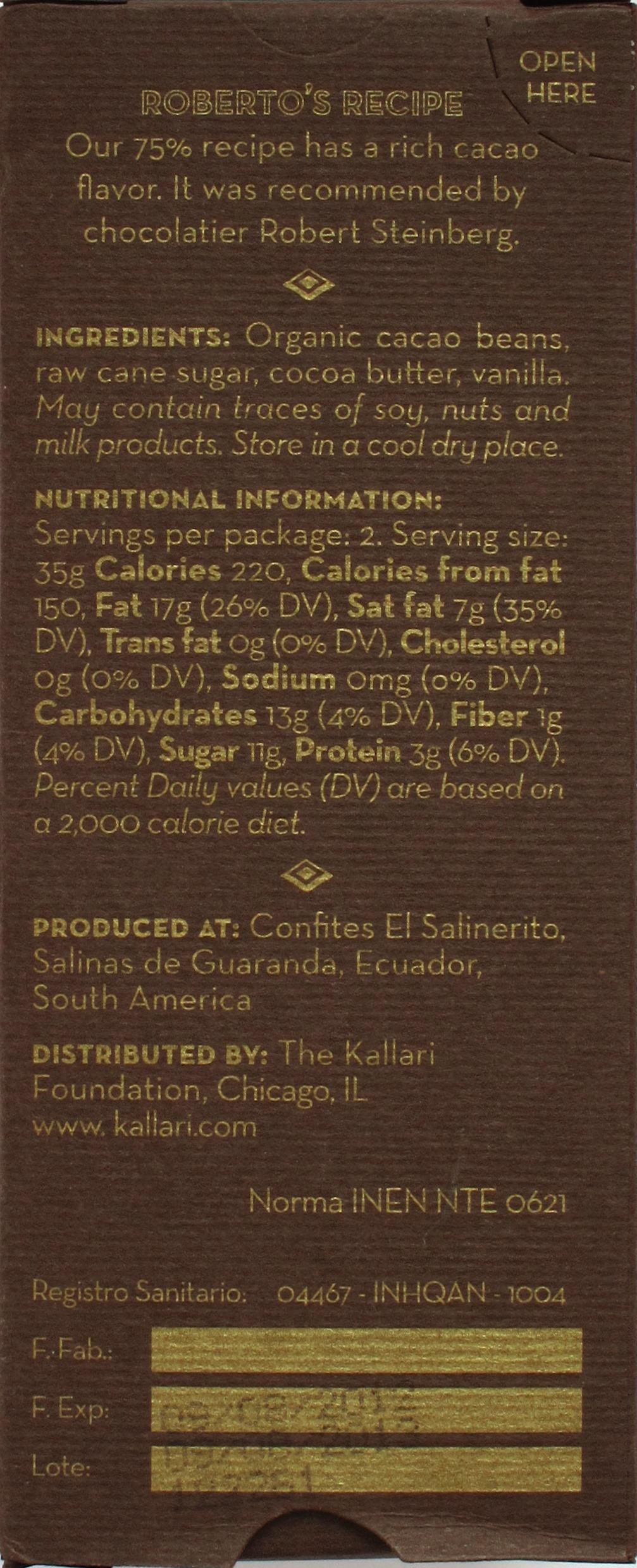 Kallari-75%-Schokolade Roberto's Recipe (Sacha-Reihe) - Rückseite