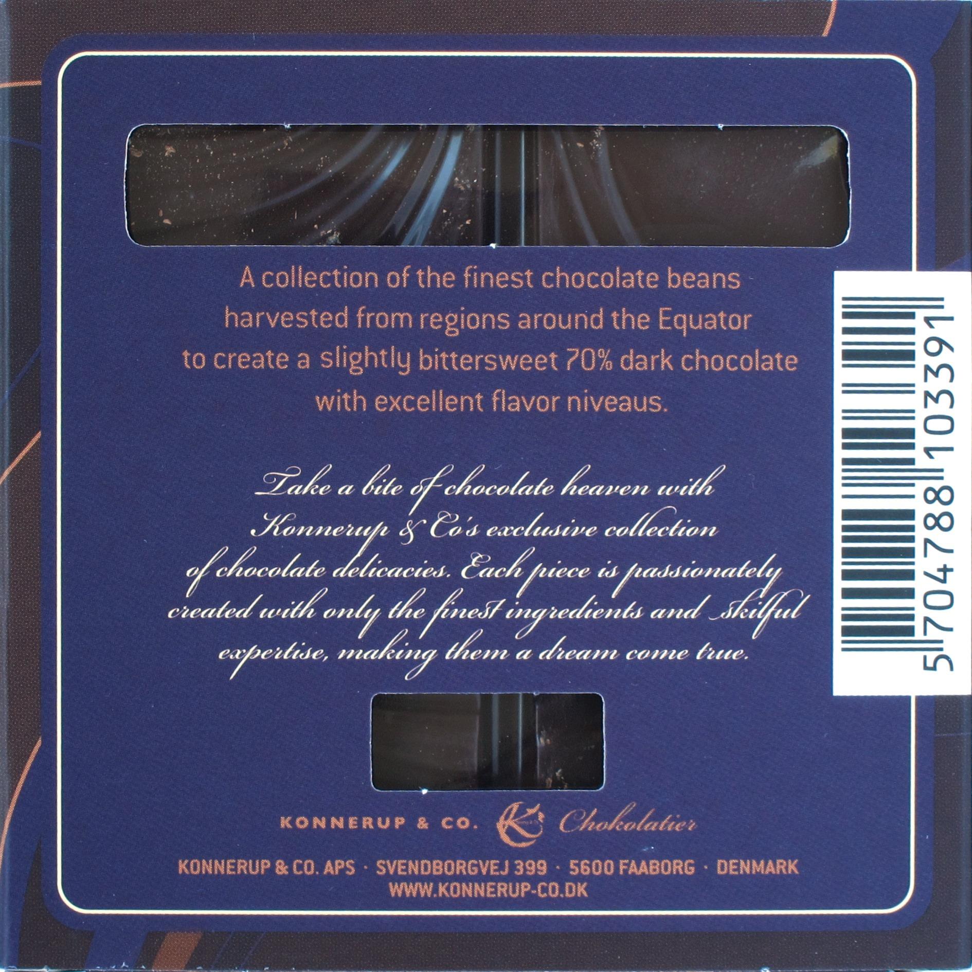 Konnerup & Co 70%-Schokolade, Packungsrückseite