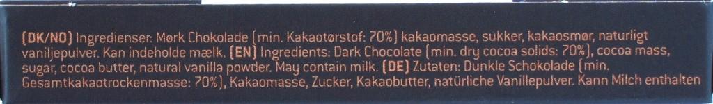 Konnerup & Co 70%-Schokolade, Zutatenliste
