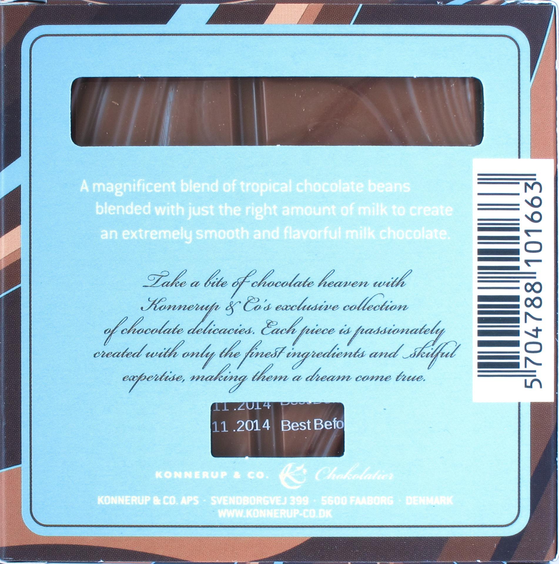 """Rückseite: Konnerup """"Milk Chocolate"""""""