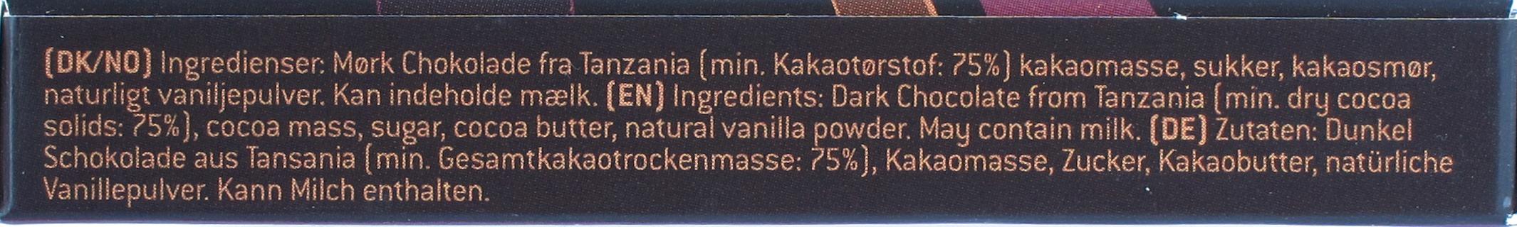 Konnerup 75% Tansania-Schokolade, Seite