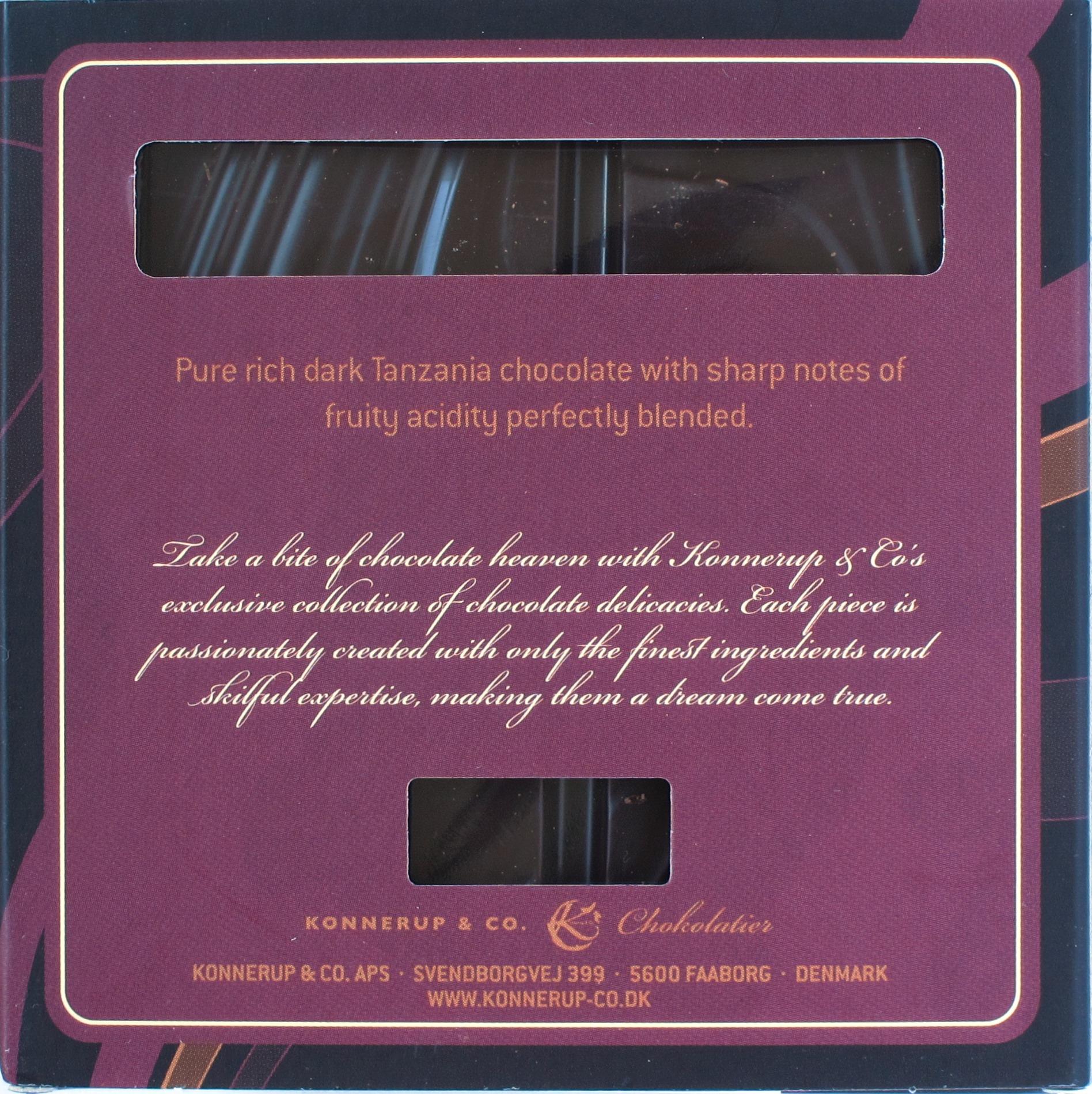 Konnerup 75% Tansania-Schokolade, hinten