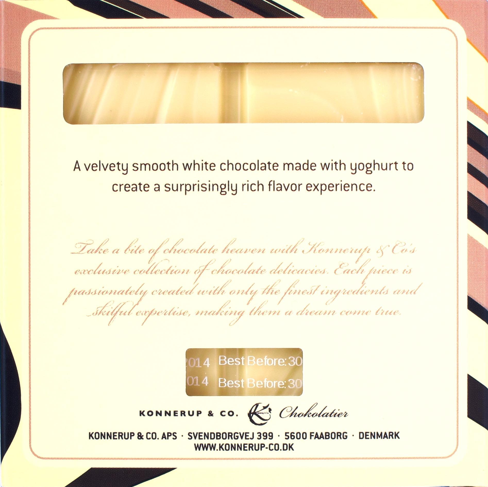 Konnerup Weiße Schokolade 32,3%, Rückansicht