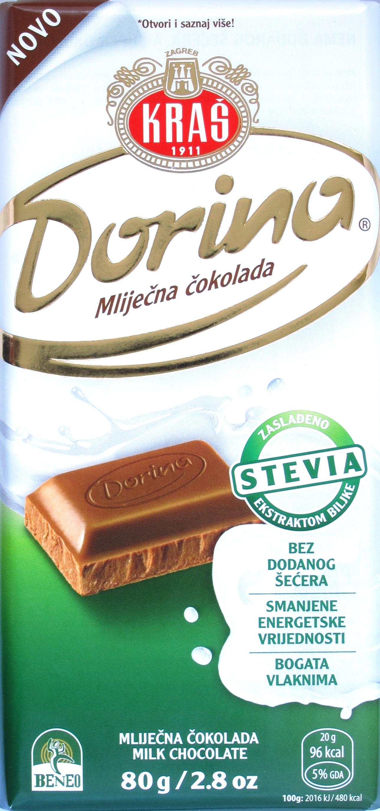 Kraš Stevia Milchschokolade 32%, Packung